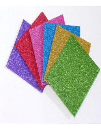 Set Goma Eva Glitter 6 Colores 20x30 Pronobel 416402