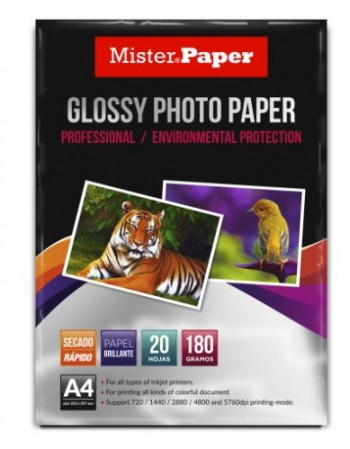 Papel Fotografico A4  Mister Paper Glossy 20H 180g  2560