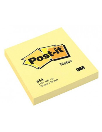 Post-it Notes 3M 654 Amarillo 7.6x7.6cm 7004-3