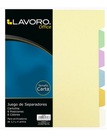 -Separador Carta Cartulina Color Lavoro 6 Posic.431347