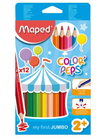 Lapices 12 Col. Largos Maped Jumbo Colorspeps Maxi 50320524