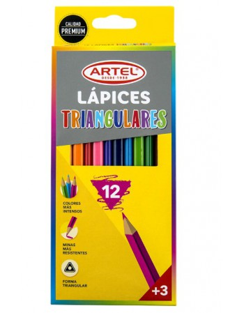 Lapices 12 Col. Largos Triang. Artel 20630011