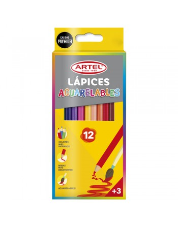 Lapices 12 Col. Largos Acuarelables Artel 20630015