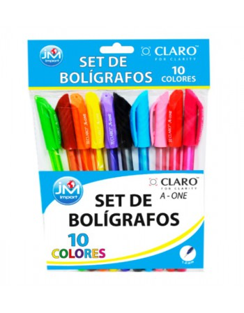 Boligrafo Pasta Cristal 10Colores 1.0 Display BOLICLA009