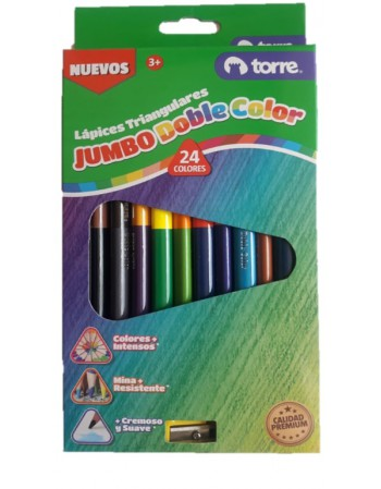 Lapices 12 Col. Jumbo Doble Color Triang. Torre 30218