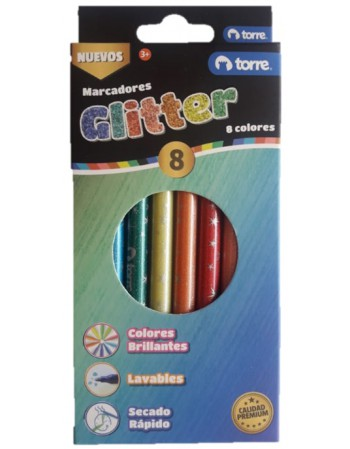 Marcadores Glitter 8 Colores Torre 30162