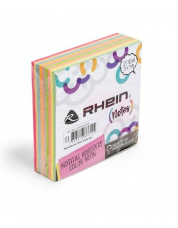 Nota Adhes. Rhein 9 Colores Neon 75x75mm 366615