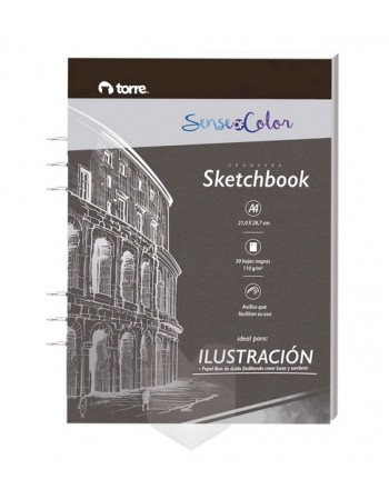 Sketchbook A4 Black 30hj Torre 31111